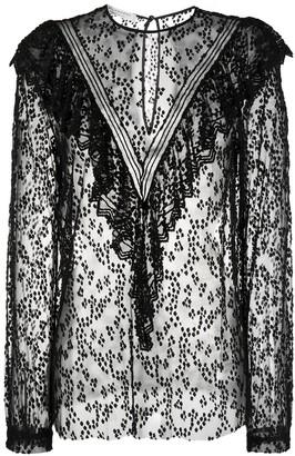 Philosophy di Lorenzo Serafini Ruffled Lace-Panel Blouse