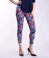 Lbisse Women's Leggings Multi - Blue Floral Leggings - Women & Plus