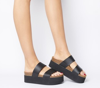 Office Mambo Flatform Two Strap Sandals Black