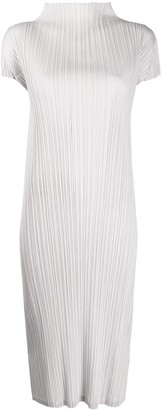 Pleats Please Issey Miyake Pleated High-Neck Midi Dress