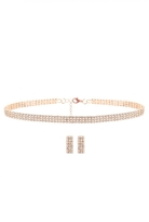 Quiz Gold Diamante Choker and Earring Set