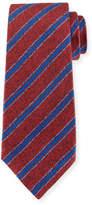 Kiton Diagonal-Stripe Silk Tie, Red