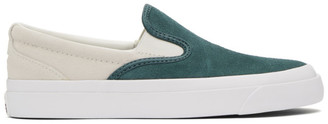 Converse Green and Off-White Suede One Star CC Pro Slip-On Sneakers
