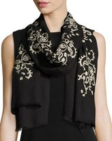 Etro Paisley-Embroidered Knit Scarf, Black/ivory