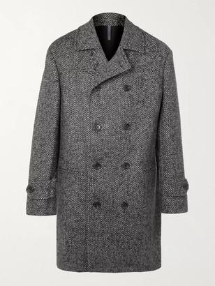 Incotex Double-Breasted Herringbone Wool and Mohair-Blend Overcoat - Men - Gray