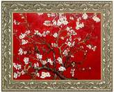 """Branches of an Almond Tree in Blossom, Ruby Red Framed Oil Reproduction of an Original Painting by Vincent Van Gogh - 25""""x21"""""""