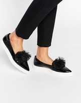 Lost Ink Toni Black Pom Pom Pointed Toe Sneakers
