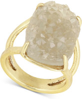 Lucky Brand Gold-Tone Rock Crystal Statement Ring