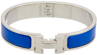 Hermes Palladium Plated & Blue Enamel Clic-Clac H Bracelet