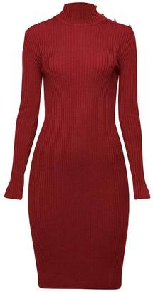 Rumour London Andrea Ribbed Wool Midi Dress In Burgundy