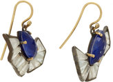 Lapis Nak Armstrong Quartz & Gemstones Curved Drop Earrings
