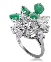 Estate 18K White Gold 2.50ct Diamond and 3.50ct Emerald Ring Size 6.5