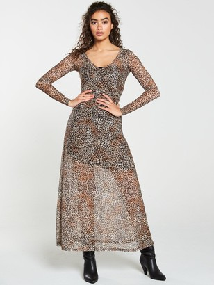 Very Leopard V-Neck Mesh Maxi Dress - Animal Print