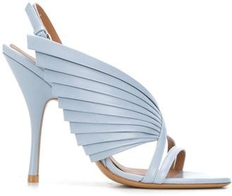 Emporio Armani Pleated Side Panel Sandals