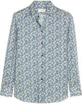 Saint Laurent Floral-print Cotton Shirt - Blue