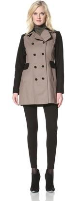 Kensie Women's Double-Breasted Colorblock Coat