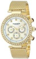 Akribos XXIV Women's AK682YG Lady Diamond Quartz Multifunction Crystal Mother-of-Pearl Gold-tone Stainless Steel Mesh Bracelet Watch