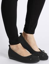 Marks and Spencer Wide Fit Leather Ballerina Shoes