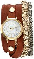 La Mer Women's Quartz Gold and Leather Casual Watch, Color:Red (Model: LAMERDEL4505)