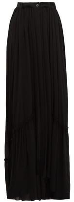 Ann Demeulemeester Asymmetric Drop Hem Chiffon Maxi Skirt - Womens - Black
