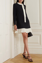 Thumbnail for your product : RED Valentino Georgette-trimmed Crepe Mini Dress - Black
