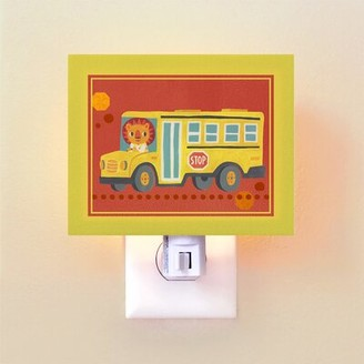 Oopsy Daisy Fine Art For Kids Animal Drivers School Bus by Irene Chan Night Light