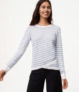 LOFT Striped Crossover Hem Sweater