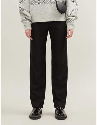 Maje Paper bag waist stretch-twill trousers