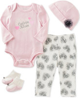 Calvin Klein 4-Pc. Hat, Bodysuit, Pants & Socks Layette Set, Baby Girls (0-24 months)