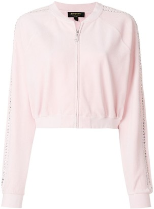 Juicy Couture Exclusive Swarovski embellished velour crop track jacket