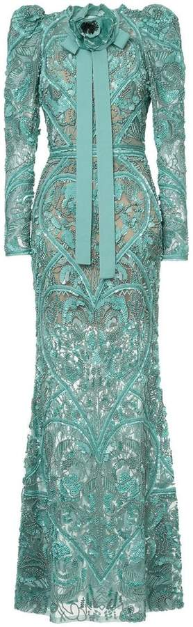 Elie Saab long sleeves full embellished column gown