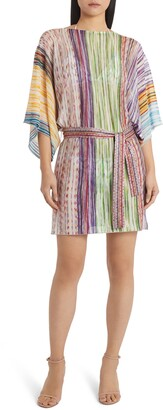 Missoni Mare Metallic Stripe Belted Cover-Up Tunic Dress