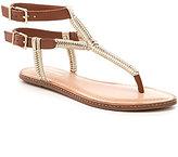 Gianni Bini Rainier Braided Flat Leather Thong Sandals