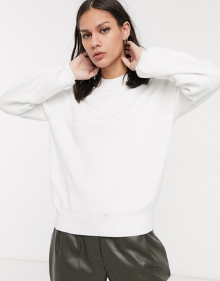 Selected jumper with balloon sleeve in white