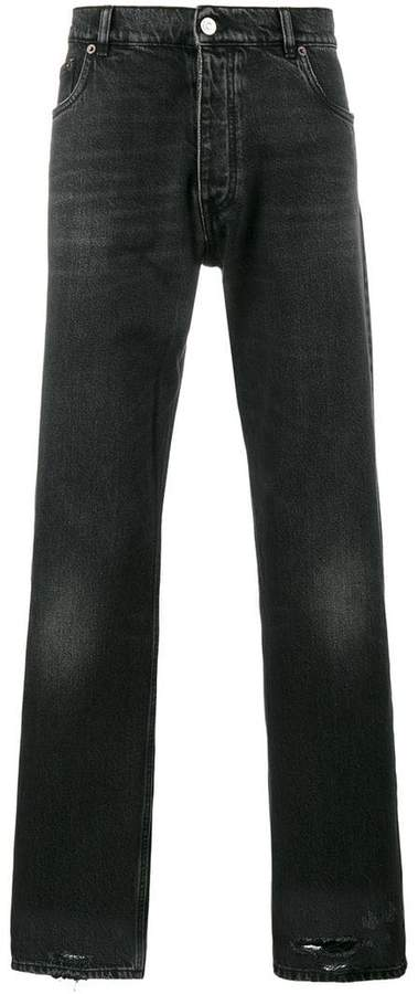Balenciaga Bal Destroyed Hem 5 Pocket Jeans