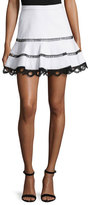 Alexis Ediely Contrast-Lace Mini Skirt, White