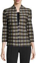 Ming Wang Wave-Pattern Knit Jacket, Multi
