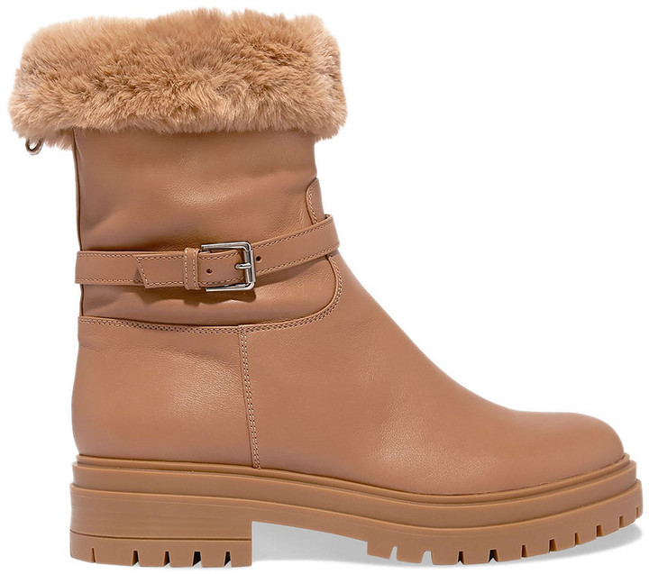 Gianvito Rossi Faux Fur-lined Leather Boots