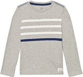 Gap Heather Grey Contrast Stripes Long Sleeve Slub Tee