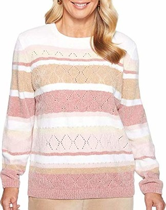 Alfred Dunner Women's Petite Chenille Stripe Sweater with Studded Embellishment