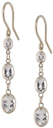 Three Stone Bezel Set White Topaz Earrings In 14 Karat White Gold