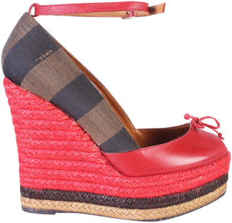 Fendi Red Leather And Striped Canvas Ankle Strap Espadrilles Wedge Pumps Size 38
