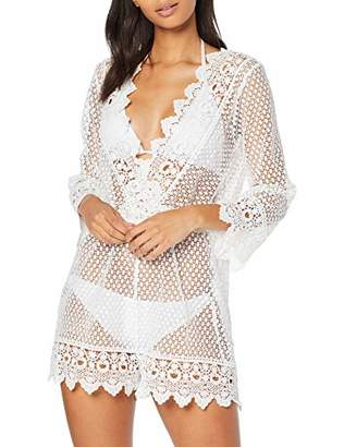 New Look Women's Crochet Long Cover-Up,Medium