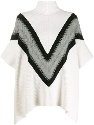 See by Chloe Chevron knit turtleneck cape jumper