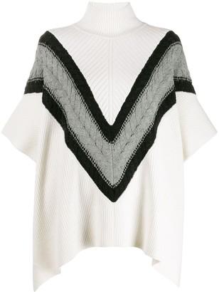 See by Chloe Chevron knit turtleneck cape jumper
