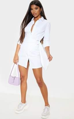PrettyLittleThing White Ring Detail Wrap Shirt Dress