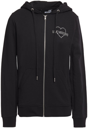 Love Moschino Crystal-embellished Cotton-blend Fleece Hoodie