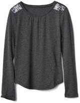 Gap Sequin shoulder long sleeve tee