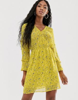 NA-KD Na Kd V-neck floral print mini dress in yellow