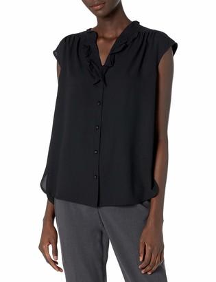 Anne Klein Women's Cap Sleeve Ruffle Split Neck Bluse